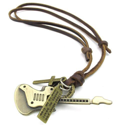 Cruz de guitarra Joyería Collar Hombre De Damas Tamaños Ajustables J4X7 colgante de la aleación