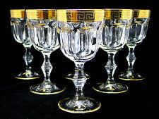 SET of 6 Italian Crystal Wine Water Glasses, 24K Gold Greek Key Trim, 8.5 Oz.