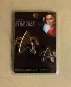 Captain Rank Pin Set Star Trek The Next Generation Magnetic Communicator Badge
