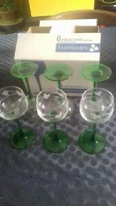 Détails sur Vintage Neuf en Carton 6 Verres à Vin Blanc 15 cl Gravés Pieds Verts Luminarc