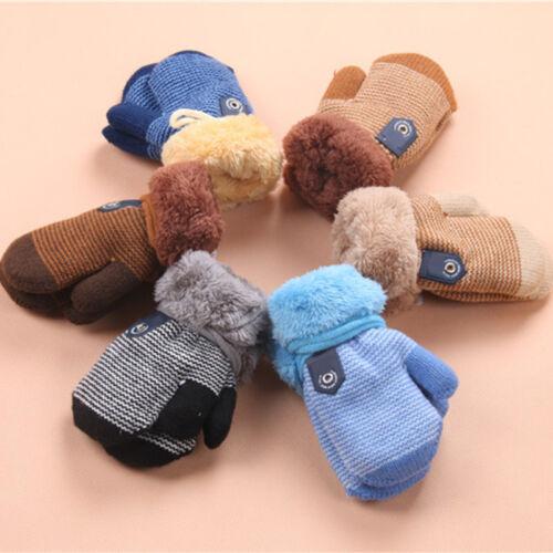Winter Warm Thick Fur Mittens Gloves Cute Infant Baby Kids Girl Boy Glove