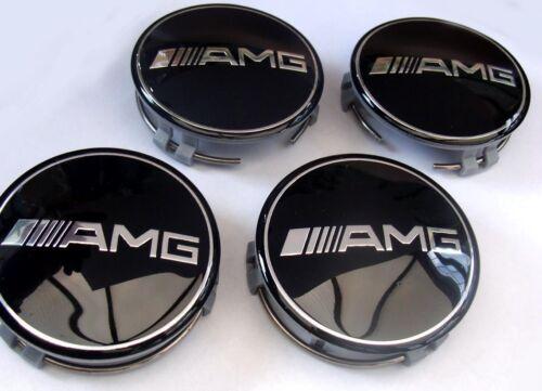 4x Mercedes Benz Alloy Wheel Centre Caps 75mm Badges BLACK AMG Hub Emblem aa