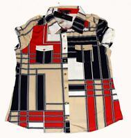 Bcbg Geometric Red Tan Navy S/s Shirt Front Pockets Gold Snaps $120 Wms L Petite