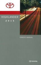 2015 Toyota Highlander Owners Manual User Guide Reference Operator Book