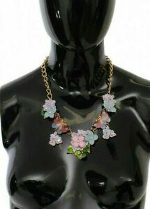 Dolce & gabbana collier or cristal fleur et papillon chaine