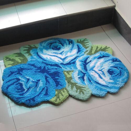 Non Slip Area Rug Bedroom 3D Handmade Rose Flower Carpet  Living Room Floor Mat