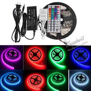 300LED-SMD-Lamp-Light-Strip-5M-5050-RGB-44-Key-IR-Controller-12V-5A-Power-Supply