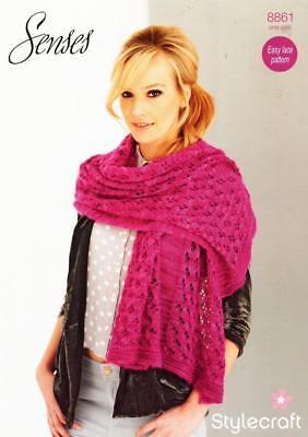 Stylecraft Senses Lace Ladies Stole//Scarf Knitting Pattern 8858