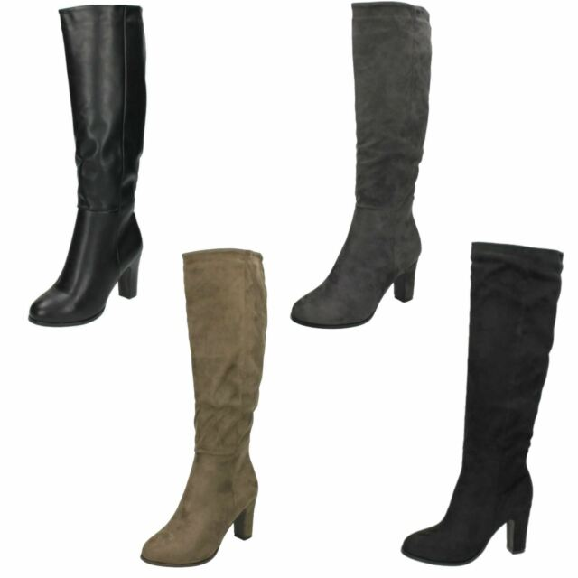 Ladies Spot On Black / Grey / Taupe Knee High Heeled Boots F50554