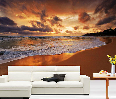 Stunning Beach Sunset Scenery 3D Full Wall Mural Photo Wallpaper Home Decal Kids