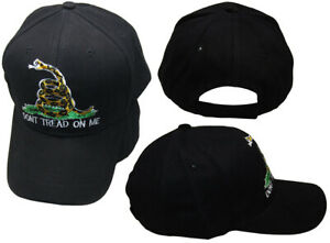 Gadsden-Don-039-t-Tread-On-Me-Black-With-White-Outline-Embroidered-Hat-Cap-RUF