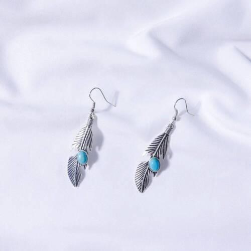 Boho Tibetan Silver Turquoise Dangle Drop Feather Hook Earrings Women Vintage
