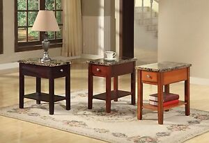 The Room Style Faux Marble Top Drawer Wood Side End Table