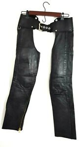 Black-Leather-Chaps-Side-Zip-Front-Buckle-Back-Lattice-Size-Small