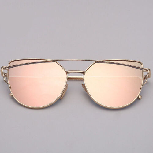 Vintage Retro Oversized Womens Rose Gold Sunglasses Oval Square Cateyes