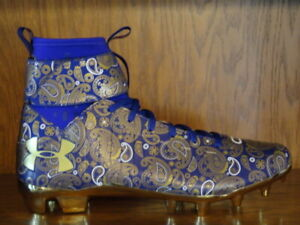 timeless design bd423 b38ee Details about New! Mens UNDER ARMOUR C1N MC LE CAM NEWTON PAISLEY Football  Cleats PURPLE/GOLD