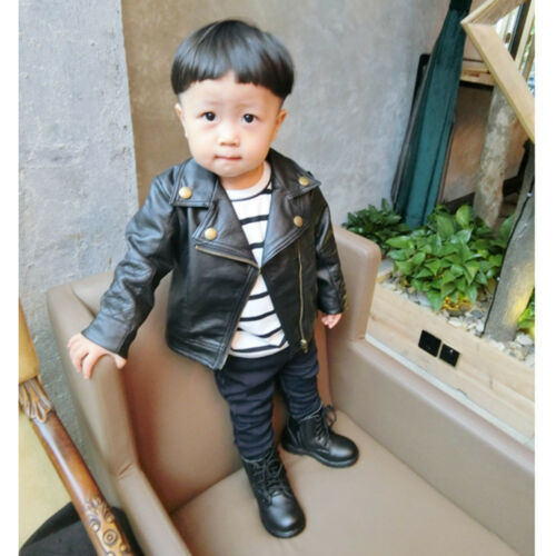 Autumn Winter Unisex Girl Boy Kid Baby Outwear Leather Coat Short Jacket Clothes