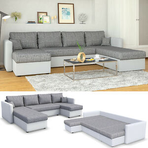 ecksofa mit schlaffunktion wei grau wohnlandschaft schlafsofa sofa schlafcouch ebay. Black Bedroom Furniture Sets. Home Design Ideas