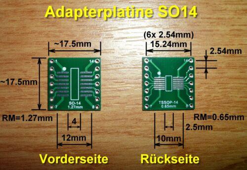 FR4-Industriequalität 0,65mm 5x SMD Adapterplatine SO14 // SOP14 1,27mm