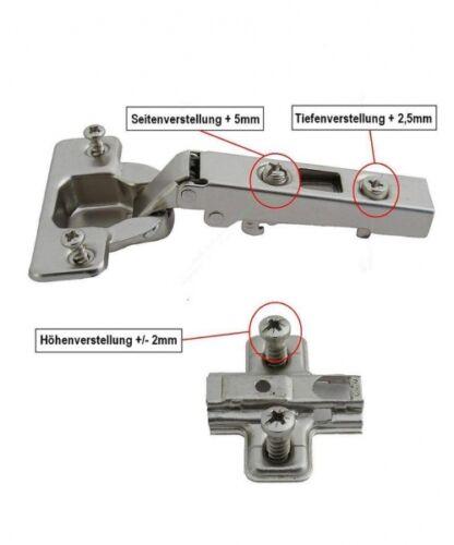 einliegend Möbelscharnier Scharnier Möbelband Topfband  wahlweise Eck- Mittel-
