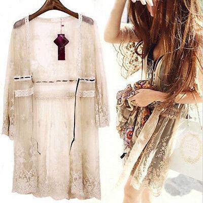 Boho Beach Sheer Lace Floral Crochet Long Top Shirt Cardigan Summer Coat Jacket