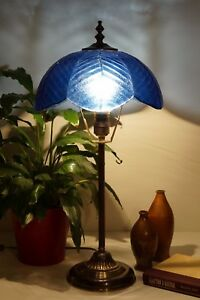 Unique art nouveau brass lamp berlin blue lotus table lamp light image is loading unique art nouveau brass lamp berlin 034 blue aloadofball Gallery