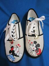 Retro Mickey & Minnie Mouse Bradford Exchange Canvas Sneakers Shoes Size 10