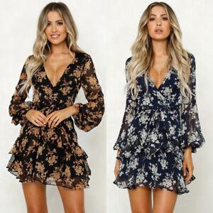 Womens-Boho-Floral-Chiffon-Summer-Party-Evening-Beach-Short-Mini-Dress-Sundress