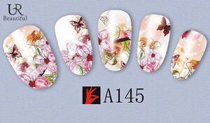 Nail-Art-Pegatinas-Transfers-Calcomanias-De-Agua-Mariposas-Flores-Esmalte-En-Gel-A145