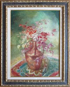 Peinture-de-Gaston-NOURY-1866-v-1939-Nature-morte-fleurs-Elbeuf-Normandie