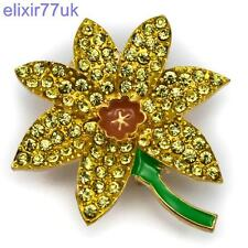 NEW GOLD DAFFODIL DIAMANTE CRYSTAL FLOWER PIN BROOCH DESIGNER BROACH HOT GIFT UK