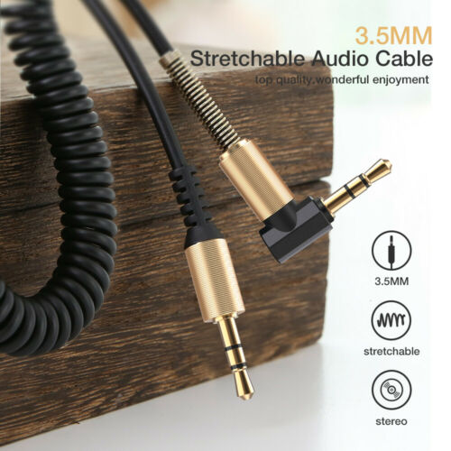 3.5mm Male to M Aux Cable Cord L-Shaped Right Angle Car Audio Headphone Jack