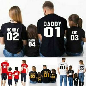 Family Shirt Matching Clothes Look Cotton Letter Print Mom Son Daughter Dad New