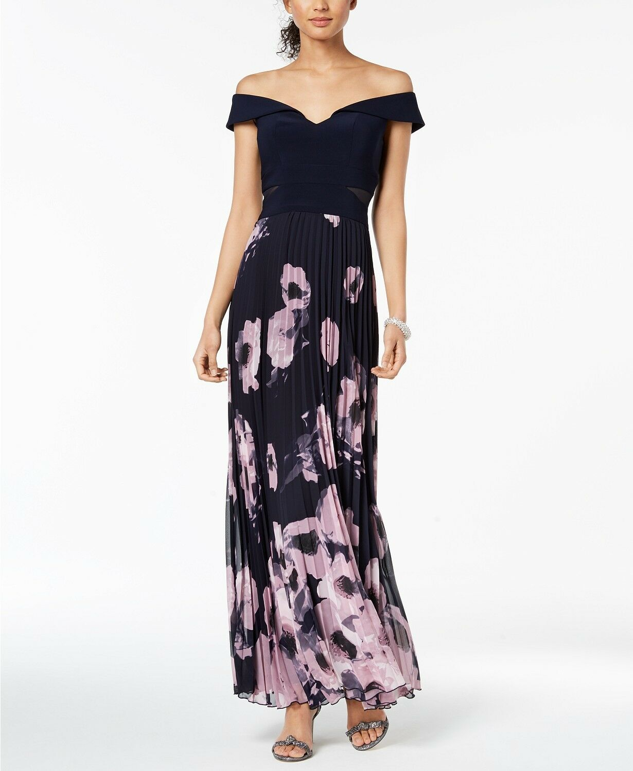 Xscape Pleated Floral Of the Shoulder Gown Größe 6  D449 MSRP