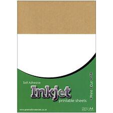 10 x A4 Sticky Inkjet RIBBED Brown Kraft Paper Sticker Label Art Sheets Ink Jet