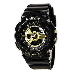 卡西歐手表女 baby-G 黑色和金色表盤黑色樹脂表帶 ba110-1a