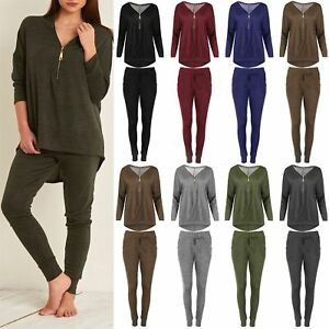 Ladies Tracksuit Womens Knitted Zip Up Laganlook Hi Lo Top Jogsuit Trousers Set