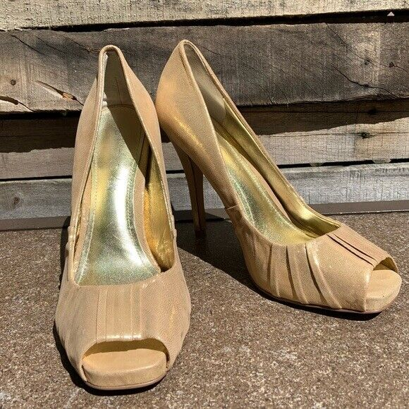 🌻ALDO Shimmery Gold Fabric Wrapped Heel High Stiletto Heels pumps Size 39 | 8.5