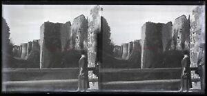 Francia Pareja Amarres Castillo Foto Negative Placa Vintage Estéreo