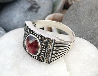 Diskret Handgemacht 925 Sterlingsilber Rot Zirkonia & Markasit Stein Herren Ring #c171 Auswahlmaterialien Herrenschmuck