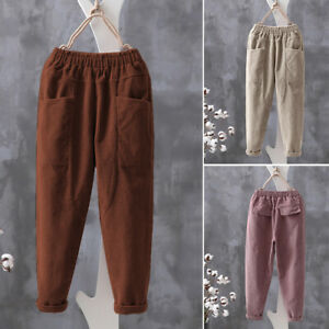 ZANZEA-Femme-Pantalon-Harlan-Taille-elastique-Poches-Casual-Jambes-larges-Plus