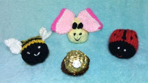 Knitting Pattern-abeille coccinelle et papillon chocolat Housse faveur s/'adapte Ferrero