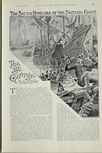 1897-PRINT-BATTLE-HONOURS-BRITISH-FLEET-ST-GEORGE-DUKE-OF-YORK-CAPTAIN-GAYTON