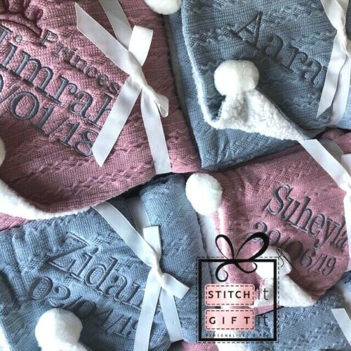 NAME EMBROIDERED pom pom//sherpa reverse PERSONALISED BABY CABLE KNIT BLANKET