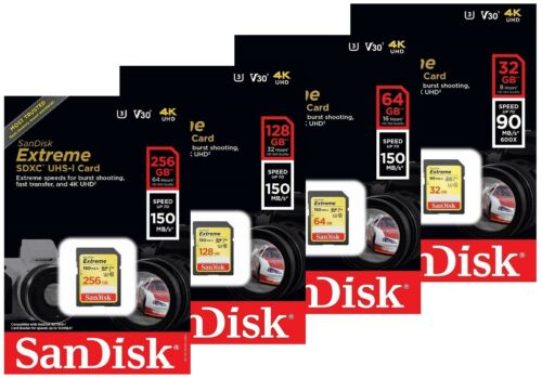 SanDisk 128GB 256GB Extreme SDXC 150MB//s UHS-I U3 clase 10 Tarjeta SD sdsdxv 5 V30