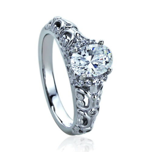 Details about  /Women/'s Fine band 14K White Gold 1.25ct Oval CZ Art Deco Wedding Engagement Ring