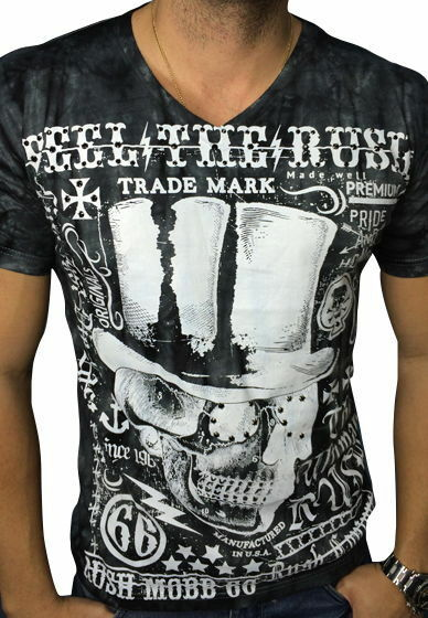ORIGINAL Rush Couture Shirt Totenkopf   ROCK TIL DEATH   R8