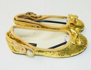 CHRISTMAS-DRESS-UP-PARTY-GIRLS-GOLD-GLITTER-FLATS-SHOES-w-Bowtie-Size-7-2