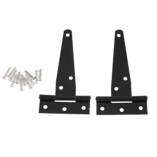 2Pcs 4inch 105mm Black Tee Hinge Cabinet Shed Door /& Gate T Hinge Galvanized