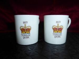 2-x-1977-QUEEN-ELIZABETH-II-Silver-Jubilee-ESPRESSO-COFFEE-CUPS-Royal-Ware